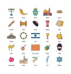 israel icon set cartoon style vector image