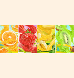 juicy and fresh fruit orange strawberry banana vector image