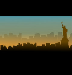 landscape of liberty statue silhouettes vector image
