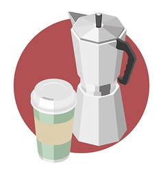 Large paper cup with coffee and coffee machine vector