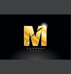 Letter m gold golden alphabet metal logo icon vector