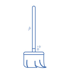 line broom sweep equipment to clean house vector image