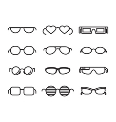 Line glasses icons vector