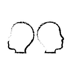 Male two heads silhouette vector