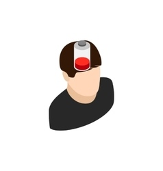 Man with low battery icon isometric 3d style vector