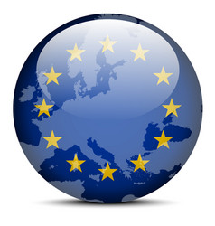 Map on flag button of Continent of Europe vector image