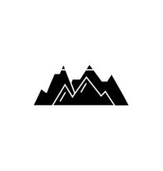 mountains black icon concept mountains vector image