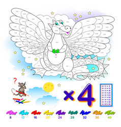 multiplication table 4 for kids math education vector image