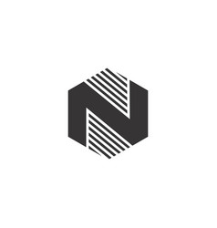 n hexagon black logo vector image