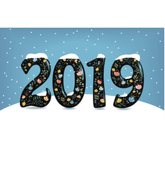 new year 2019 floral number and snow vector image