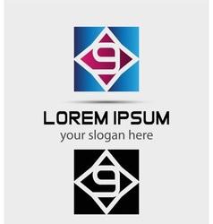 Number 9 logo logotype design vector image