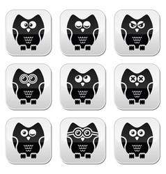 Owl cartoon character buttons set vector