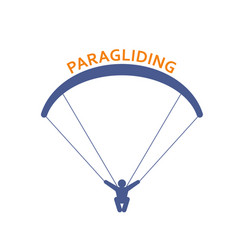paragliding icon - parachutist front view man vector image