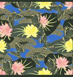 pattern with lotus and butterflies vector image