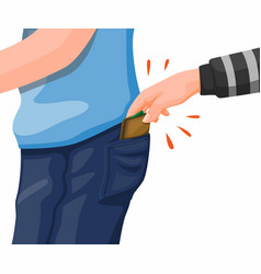 Pickpocket crime thief hand steal wallet vector