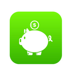 pig money icon green vector image