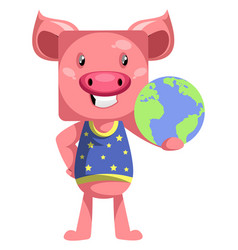 pig with planet earth on white background vector image