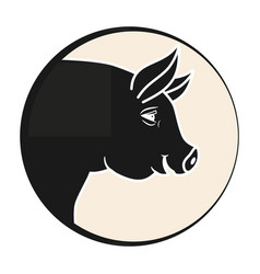 Pigs head in a circle silhouette emblem on a vector