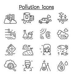 Pollution icon set in thin line style vector