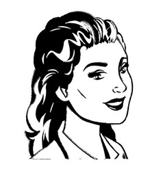 Portrait woman pop art sketch vector