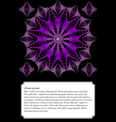 purple mandala on black background text frame vector image