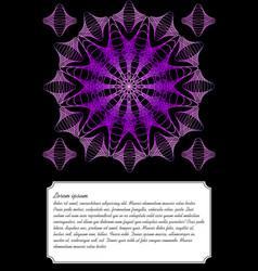 Purple mandala on black background text frame vector