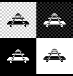 railroad icon isolated on black white and vector image