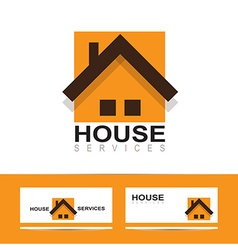 Real estate house orange logo vector