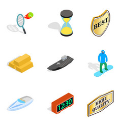 Recognition icons set isometric style vector