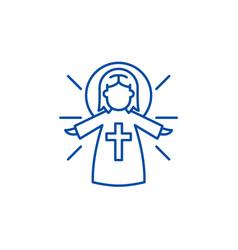 religious angel line icon concept religious angel vector image