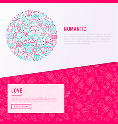 romantic concept in circle with thin line icons vector image
