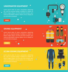 scuba diving horizontal banner in a flat style vector image