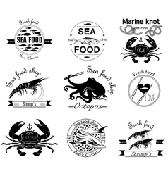 sea food labels badges and design elements vector image