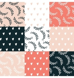 Seamless background pattern set Cute hand drawn vector image