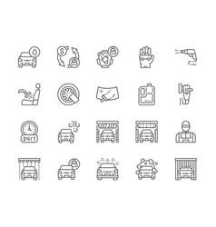 set car wash line icons polishing machine vector image