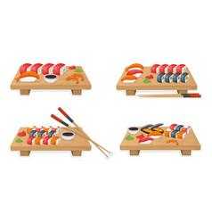 Set sushi on wooden kitchen board tuna fish vector