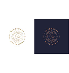 shining moon crescent with closed eye logo vector image