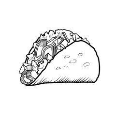 Sketch hand drawn taco vector