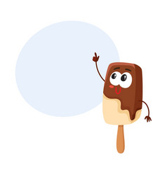 smiling ice cream on stick popsicle character vector image