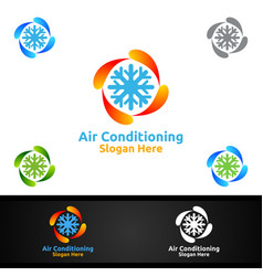 Snow air conditioning and heating services logo vector
