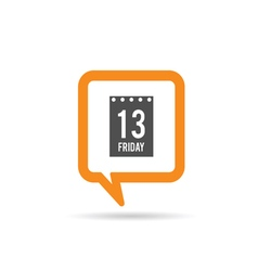 Square orange speech bubble with friday 13 icon vector