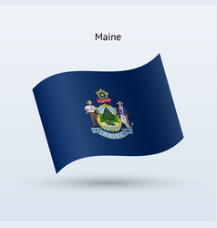 State of maine flag waving form vector