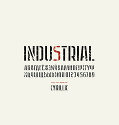 stock stencil-plate sans serif narrow font vector image