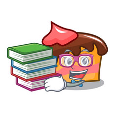 Student with book sponge cake mascot cartoon vector
