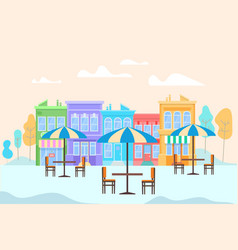 summer outdoor cafe with tables and ubbrellas vector image