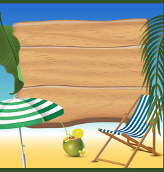 Summer time holiday beach realistic background vector