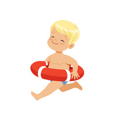 Sweet blonde little boy running with red lifebuoy vector