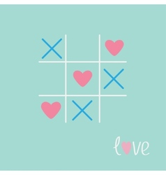 Tic tac toe game with cross and heart sign mark vector image