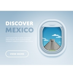 traveling plane landmarks in window vector image