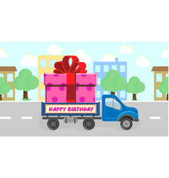 Truck carries a gift for a birthday going around vector